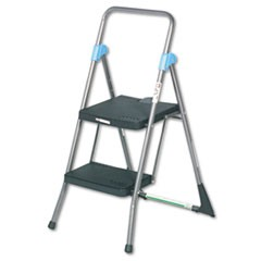 Commercial 2-Step Folding Stool, 300 lb Capacity, 20.5w x 24.75d x 39.5h, Gray