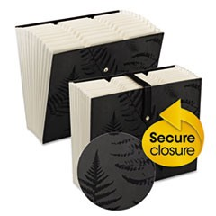 Secure Accordion Expanding File, 12 pockets, Letter, Black, 1/ea