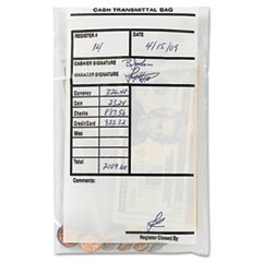 Cash Transmittal Bags, Self-Sealing, 6 x 9, Clear, 500 Bags/Box
