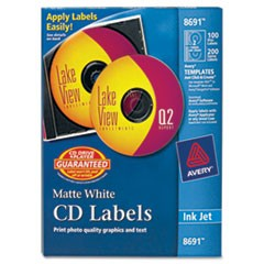 Avery Inkjet Cd Labels, Matte White, 100/Pack