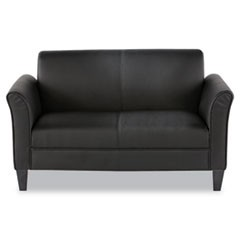 Alera Reception Lounge Furniture, Loveseat, 55.5w x 31.5d x 32h, Black