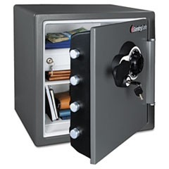 Fire-Safe with Combination Access, 1.23 cu ft, 16.38w x 19.38d x 17.88h, Gray