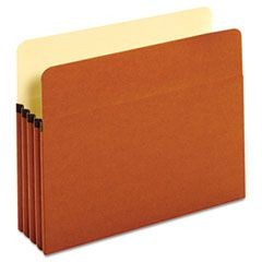 "Bulk File Pockets, Straight Cut, 1 Pocket, Letter, 3 1/2"" Exp., Brown, 50/Carton"