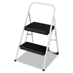 2-Step Folding Steel Step Stool, 200 lb Capacity, 17.38w x 18d x 28.13h, Cool Gray