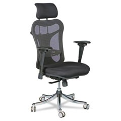 Ergo Ex Executive Office Chair, Mesh Back/Upholstered Seat, Black/Chrome