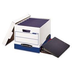 Bankers Box Binderbox Storage Boxes, Letter Files, 13.13  X 20.13  X 12.38 , White/Blue, 12/Carton