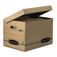 Bankers Box Systematic Basic-Duty Attached Lid Storage Boxes, Letter/Legal Files, Kraft/Green, 12/Carton