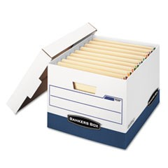 Bankers Box Stor/File End Tab Storage Boxes, Letter/Legal Files, White/Blue, 12/Carton