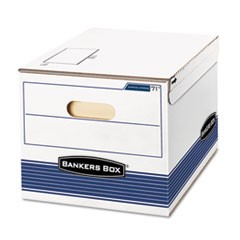 STOR/FILE Storage Box, Letter/Legal, 12 x 15 x 10, White/Blue, 12/Carton