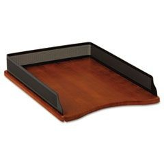 Distinctions Self-Stacking Desk Tray, Metal/Wood, Black/Cherry