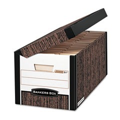 Bankers Box Systematic Medium-Duty Strength Storage Boxes, Letter Files, Woodgrain, 12/Carton