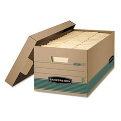 Bankers Box Stor/File Medium-Duty Storage Boxes, Letter Files, 12.88  X 25.38  X 10.25 , Kraft/Green, 12/Carton