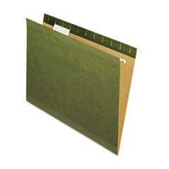 X-Ray Hanging File Folders, 1/5 Tab, Letter, Standard Green, 25/Box