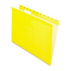 Reinforced Hanging Folders, 1/5 Tab, Letter, Yellow, 25/Box