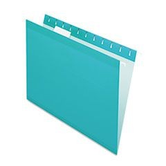 Reinforced Hanging Folders, 1/5 Tab, Letter, Aqua, 25/Box