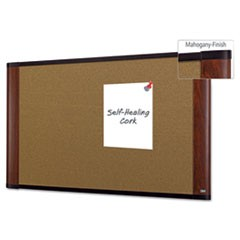 Cork Bulletin Board, 36 x 24, Aluminum Frame w/Mahogany Wood Grained Finish