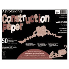 Astrobrights Construction Paper, 72lb, 12 x 18, Grizzly Brown, 50 Sheets