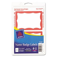 Printable Self-Adhesive Name Badges, 2-11/32 x 3-3/8, Red Border, 100/Pack