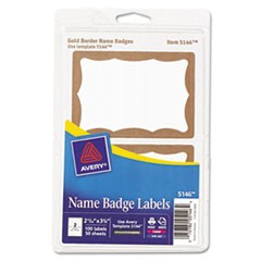Printable Self-Adhesive Name Badges, 2 1/3 x 3 3/8, Gold Border, 100/Pack