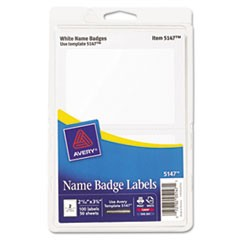 Printable Self-Adhesive Name Badges, 2-11/32 x 3-3/8, White, 100/Pack