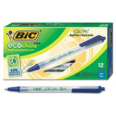 Ecolutions Clic Stic Retractable Ballpoint Pen, 1mm, Blue Ink, Clear Barrel, Dozen