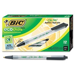 Ecolutions Clic Stic Retractable Ballpoint Pen, 1mm, Black Ink, Clear Barrel, Dozen