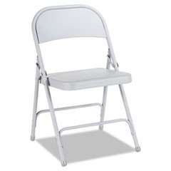 Steel Folding Chair with Two-Brace Support, Light Gray, 4/Carton