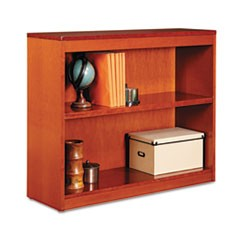 Square Corner Wood Bookcase, Two-Shelf, 35-5/8w x 11-3/4d x 30h, Medium Cherry