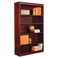 "Square Corner Wood Veneer Bookcase, Five-Shelf, 35.63""w x 11.81""d x 60""h, Mahogany"