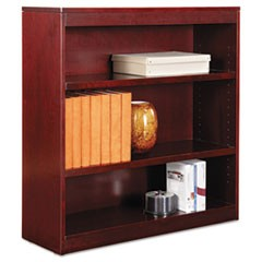 "Square Corner Wood Veneer Bookcase, Three-Shelf, 35.63""w x 11.81""d x 35.91""h, Mahogany"