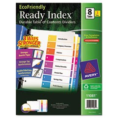 Customizable TOC Ready Index Multicolor Dividers, 8-Tab, Letter, 3 Sets