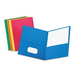 Twin-Pocket Folder, Embossed Leather Grain Paper, Assorted Colors, 25/Box