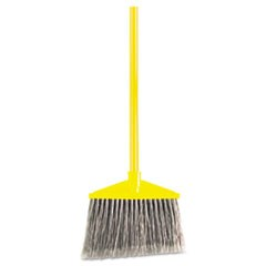 "Angled Large Broom, Poly Bristles, 46 7/8"" Metal Handle, Yellow/Gray"