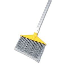 "Angled Large Brooms, Poly Bristles, 48 7/8"" Aluminum Handle, Silver/Gray"