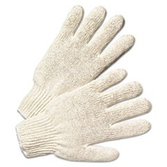 String Knit Gloves, Large, Natural White, 12 Pairs