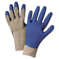 6030L Premium Knit-Back Latex-Palm, Gray/Blue, Large, Dozen