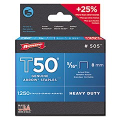 "T50 Heavy Duty Staples, 0.31"" Leg, 0.5"" Crown, Steel, 1,250/Pack"