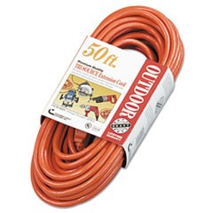 Vinyl Outdoor Extension Cord, 50ft, Three-Outlets, Orange