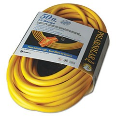 Polar/Solar Outdoor Extension Cord, 50ft, Three-Outlets, Yellow