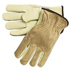Dual Leather Industrial Gloves, Cream, Large, 12 Pairs