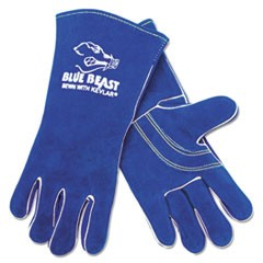 Premium Quality Welder's Gloves, Large, 13 in., Blue