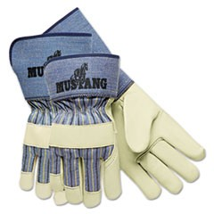 Mustang Premium Grain-Leather Gloves, 4 1/2 in. Gauntlet Cuff, Large