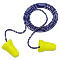E·A·R E-Z-Fit Single-Use Earplugs, Corded, 28NRR, Yellow/Blue, 200 Pairs