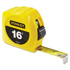 "Tape Rule, 3/4"" x 7ft, Plastic Case, Yellow, 1/16"" Graduation"