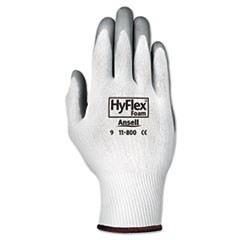 HyFlex Foam Gloves, White/Gray, Size 8, 12 Pairs