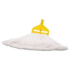 Nylon Finish Mop Head, Medium, White, 6/Carton