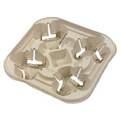 StrongHolder Molded Fiber Cup Tray, 8-22oz, Four Cups, 300/Carton