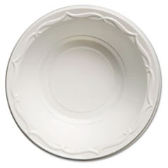 Aristocrat Plastic Bowls, 12 Ounces, White, Round, 125/Pack, 8 Packs/CT