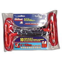 10-Piece 6in T-Handle Hex Kit, 3/32in - 3/8in, Pouch