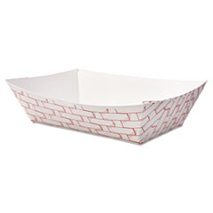 Paper Food Baskets, 2lb Capacity, Red/White, 1000/Carton